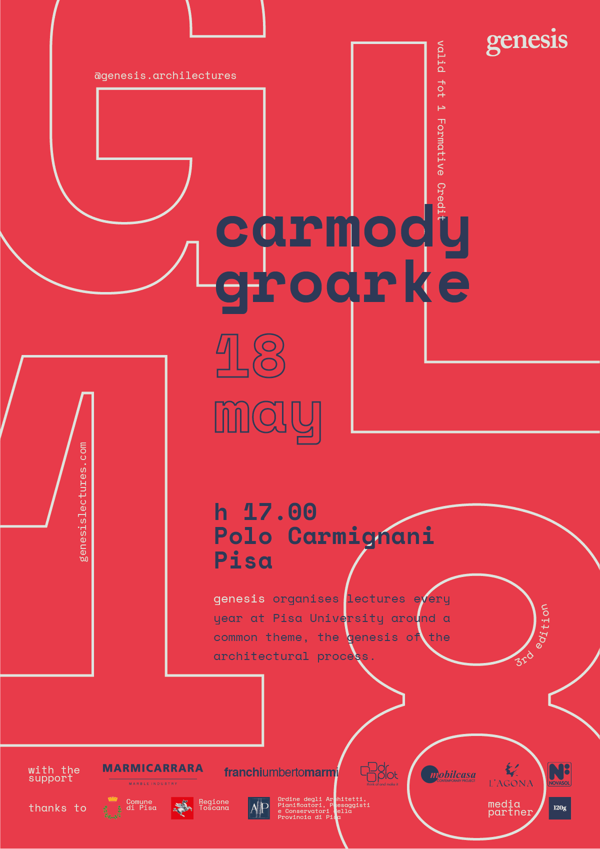 Carmody Groarke poster for Genesis Lectures 2018