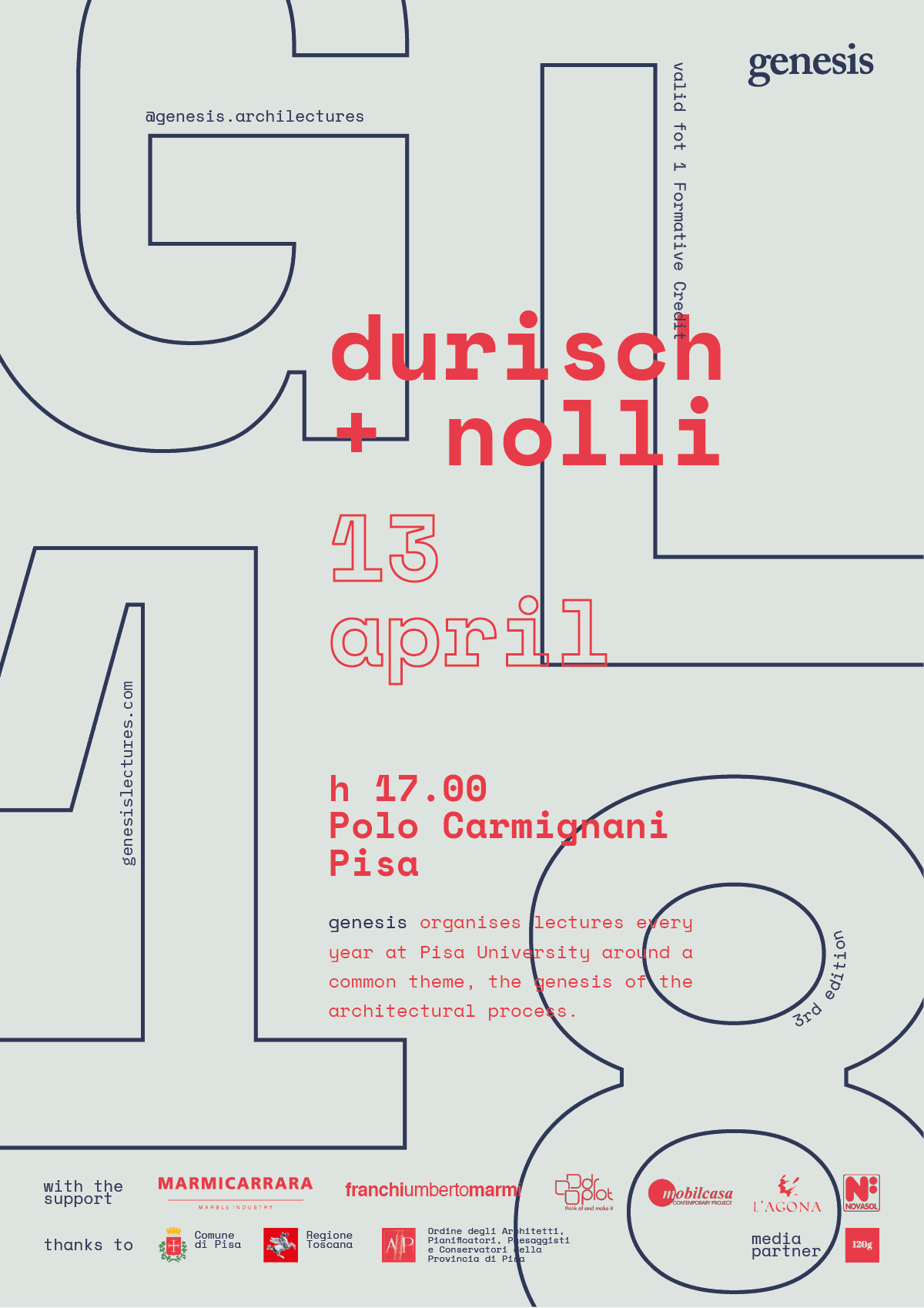 Durisch + Nolli  poster for Genesis Lectures 2018