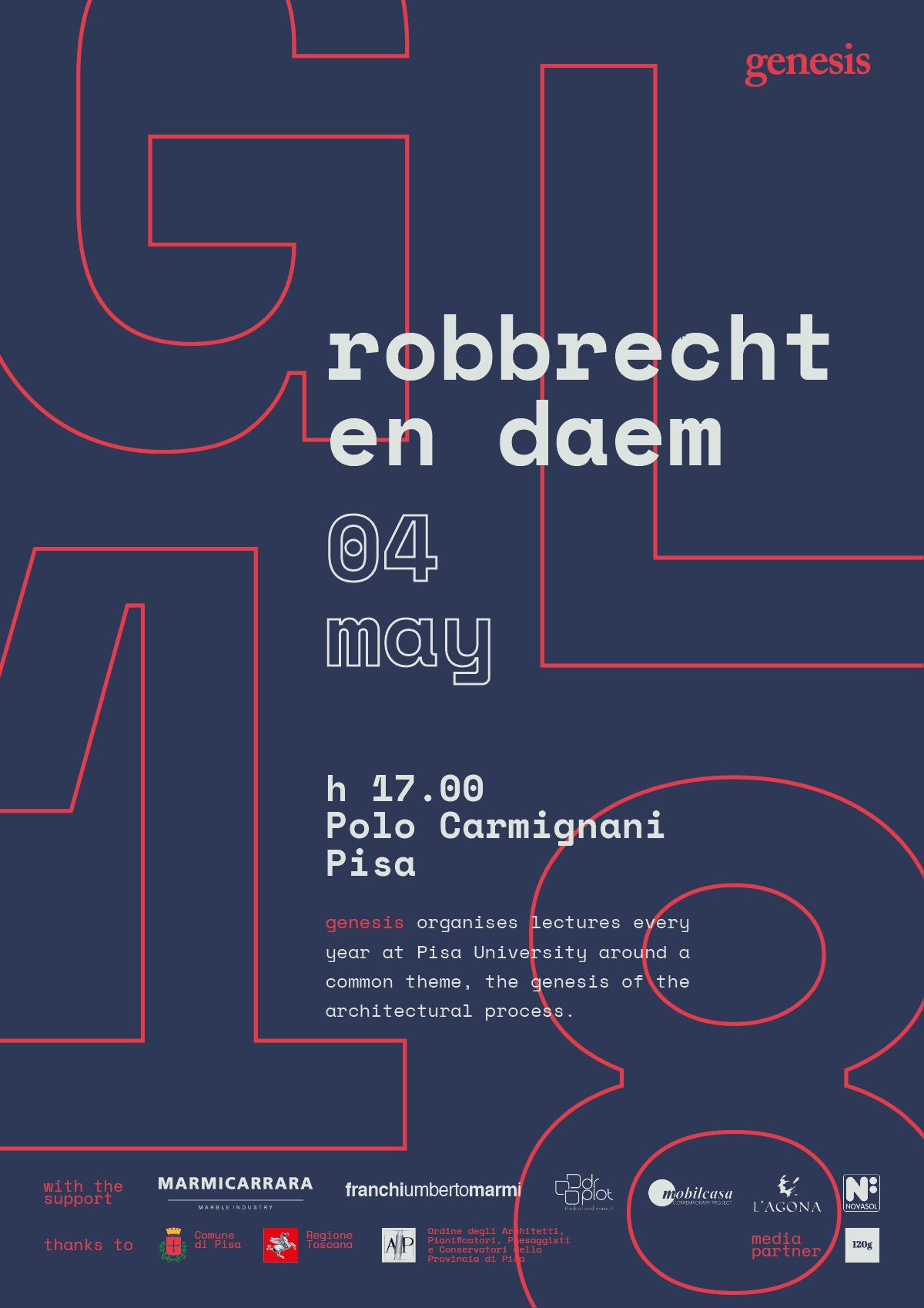 Robbrecht En Daem  poster for Genesis Lectures 2018