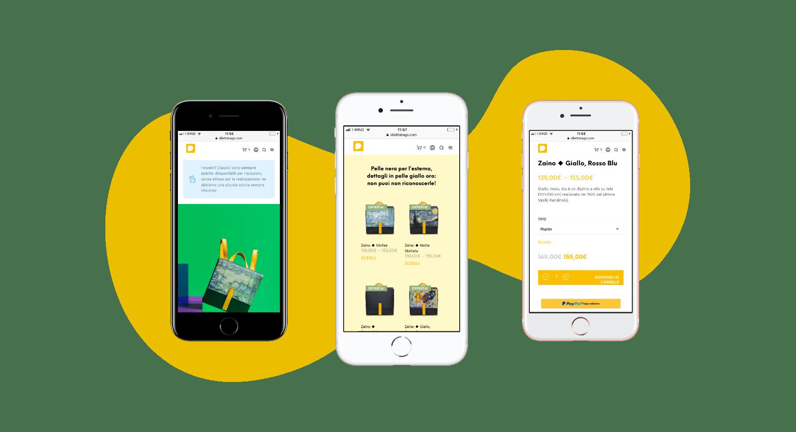 Website mobile iPhone, Diletta Bags