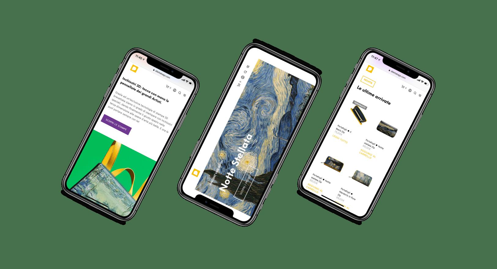Website mobile iPhone X, Diletta Bags