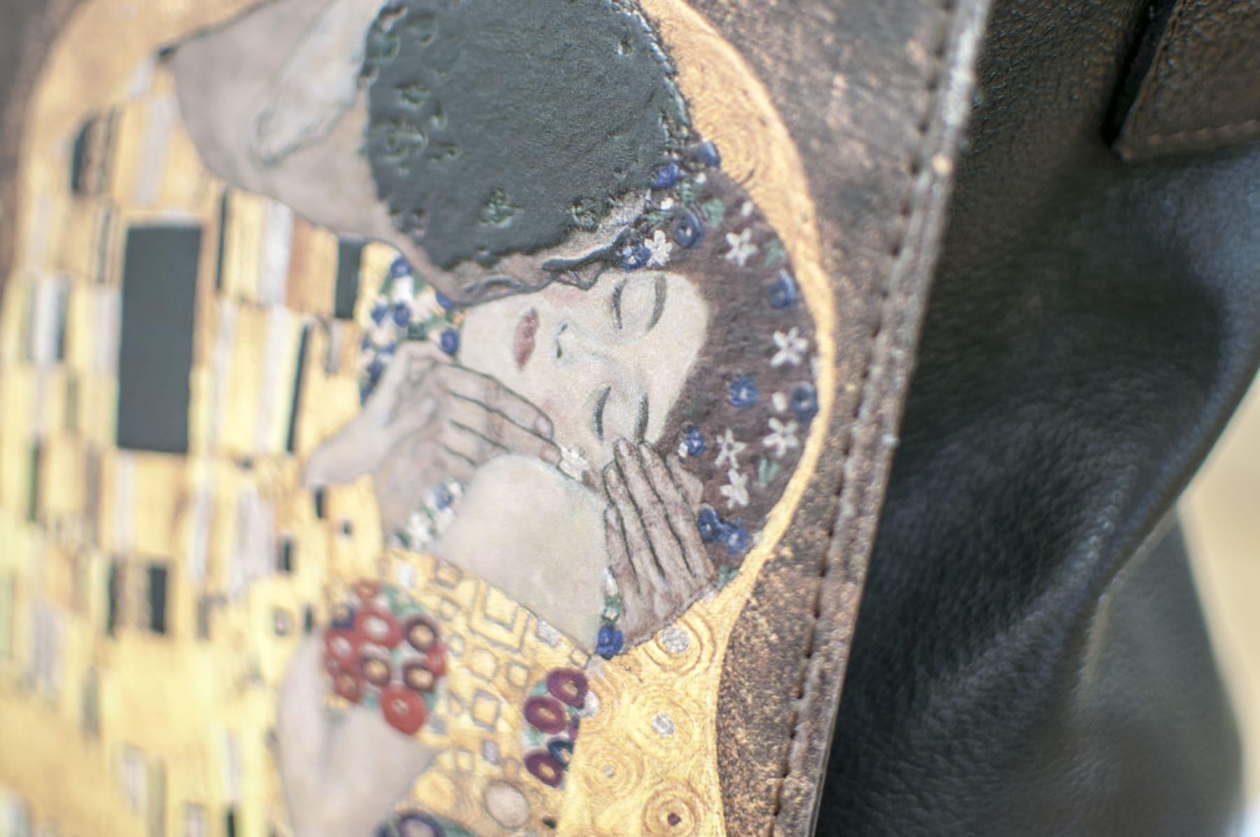 Detail of The Kiss, Gustav Klimt. Black bag