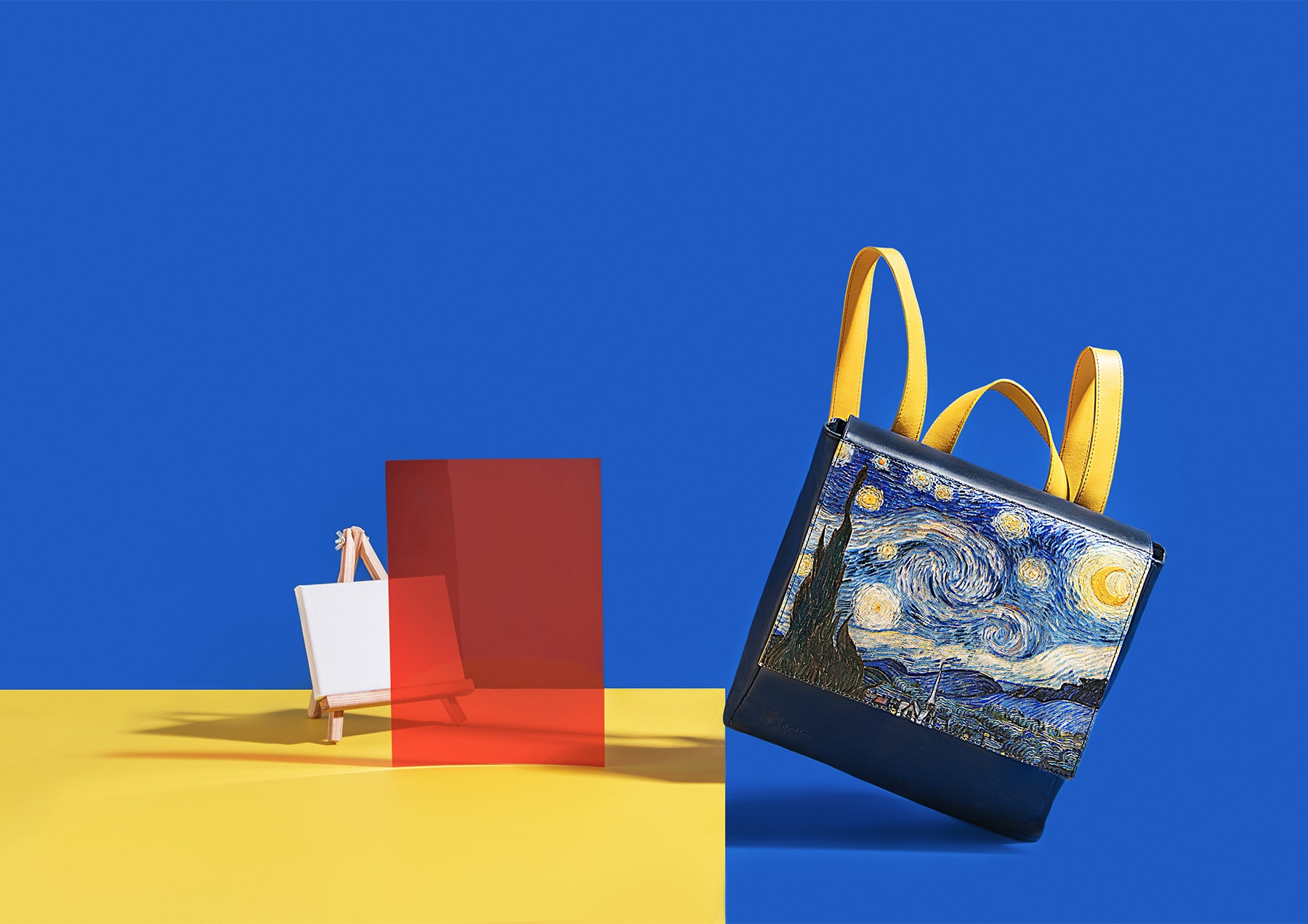 Starry Night, Vincent Vang Gogh – Backpack, black and gold